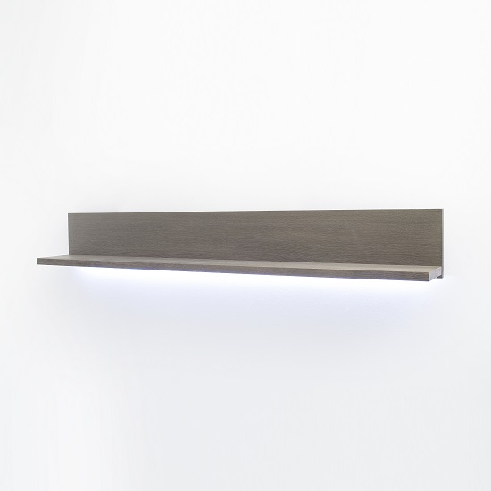 Seattle Wall Mount Large Display Shelf In Oak Stone Grey And LED