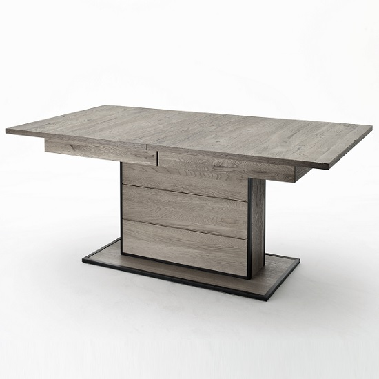 Seattle Extendable Dining Table In Knotty Oak And Metal Accents_8
