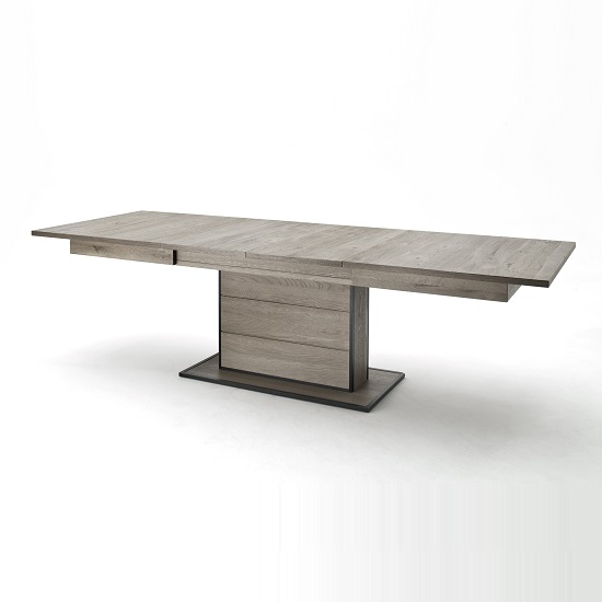 Seattle Extendable Dining Table In Knotty Oak And Metal