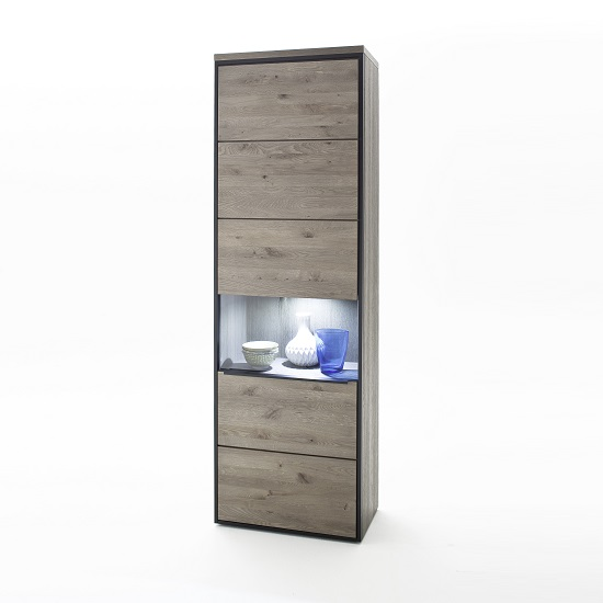 Seattle Wooden Left Display Cabinet In Oak Stone Grey And LED