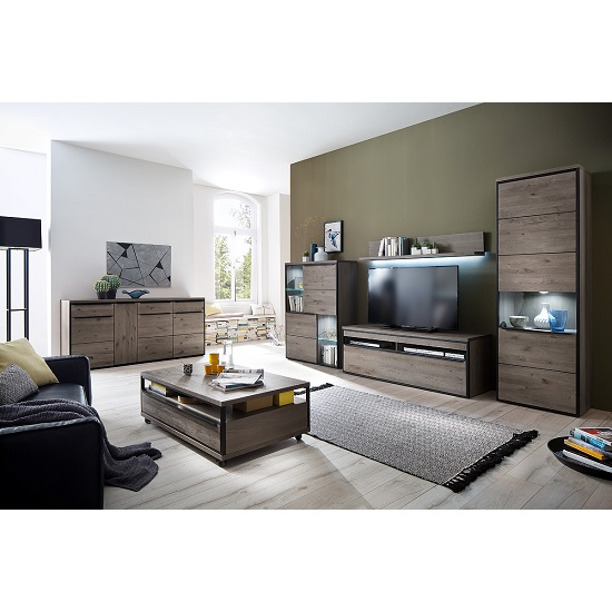 Seattle Living Room Furniture Set 1 In Oak Stone Grey With LED_2