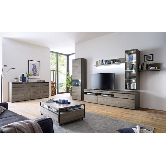 Seattle Sideboard In Oak And Stone Grey With Metal Accents_8