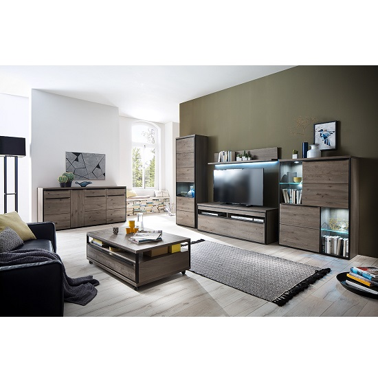 Seattle Living Room Furniture Set In Oak Stone Grey With