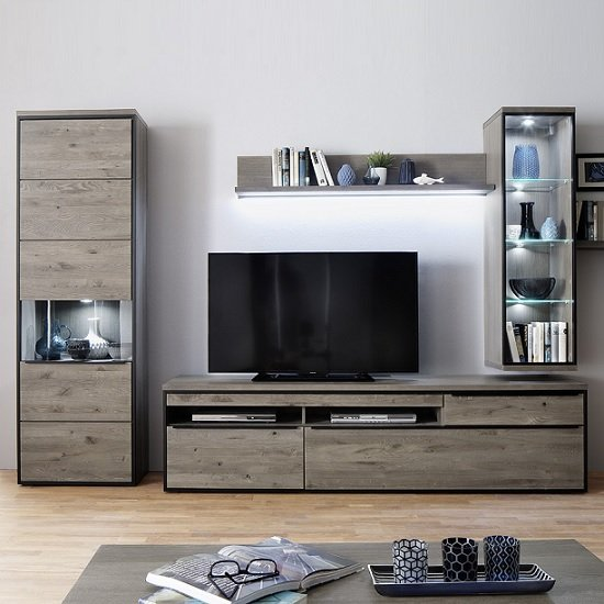Seattle Large TV Stand In Oak And Stone Grey With Metal Accents_2