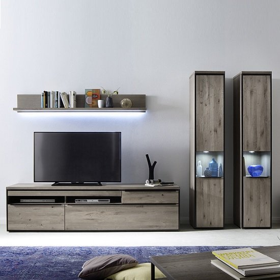 Seattle Large TV Stand In Oak And Stone Grey With Metal Accents_3