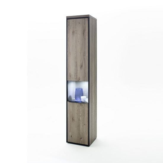Seattle Narrow Right Display Cabinet In Oak Stone Grey And LED