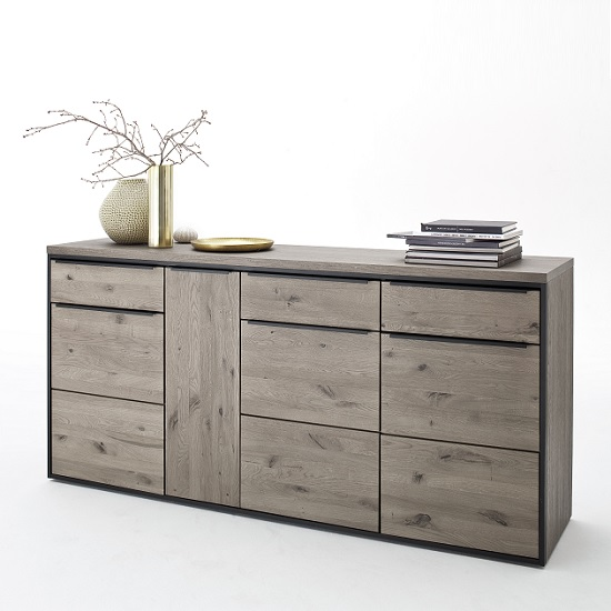 Seattle Sideboard In Oak And Stone Grey With Metal Accents_10