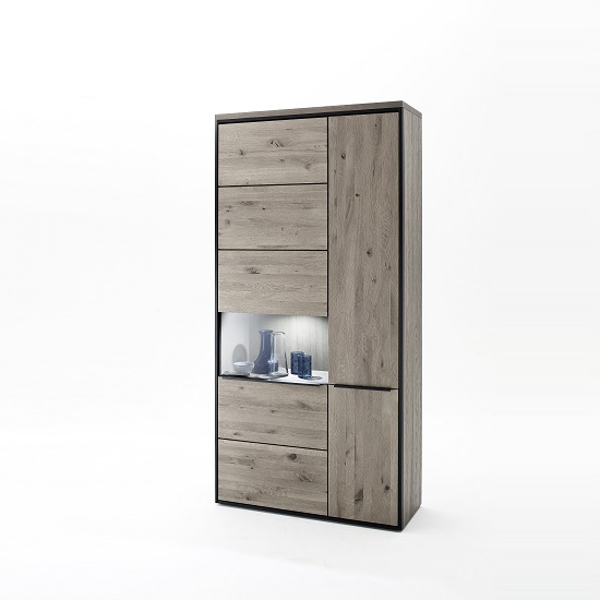 Seattle Wooden Wide Display Cabinet In Oak Stone Grey And LED