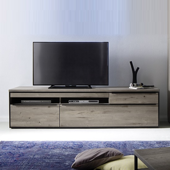 Seattle Large TV Stand In Oak And Stone Grey With Metal Accents_1