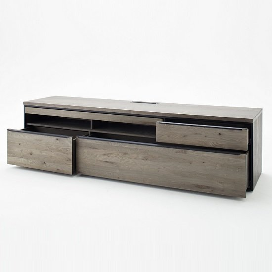 Seattle Large TV Stand In Oak And Stone Grey With Metal Accents_6