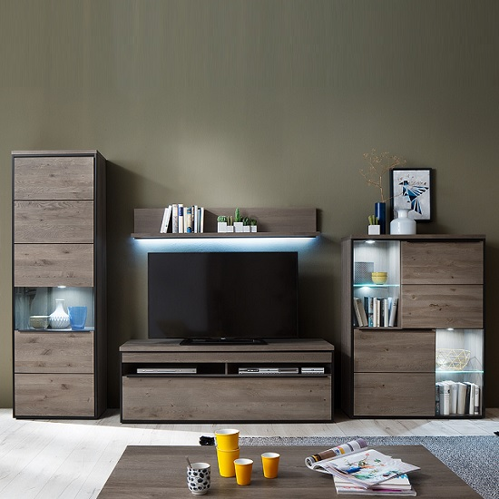 Seattle Living Room Furniture Set In Oak Stone Grey With LED