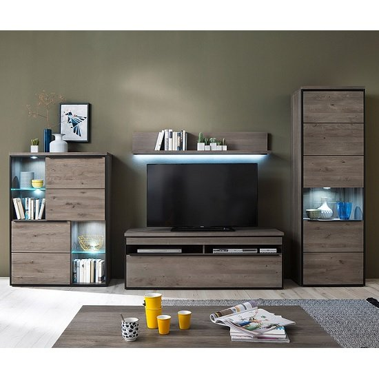 Seattle Living Room Furniture Set 1 In Oak Stone Grey With LED_1