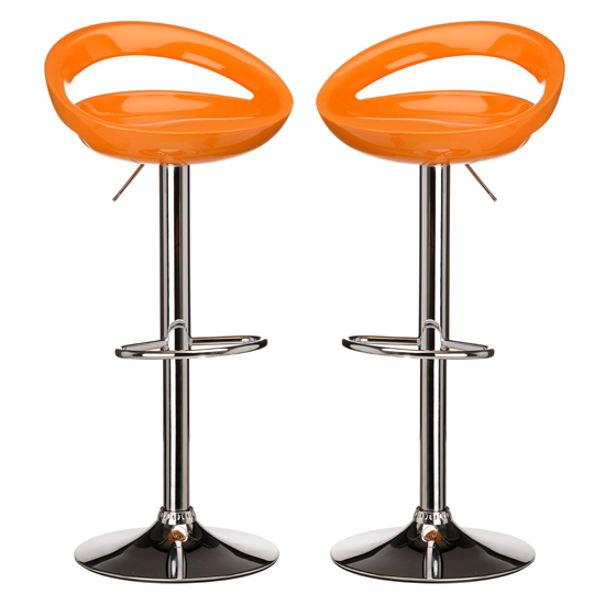 Secro Orange ABS Plastic Bar Stools In Pair