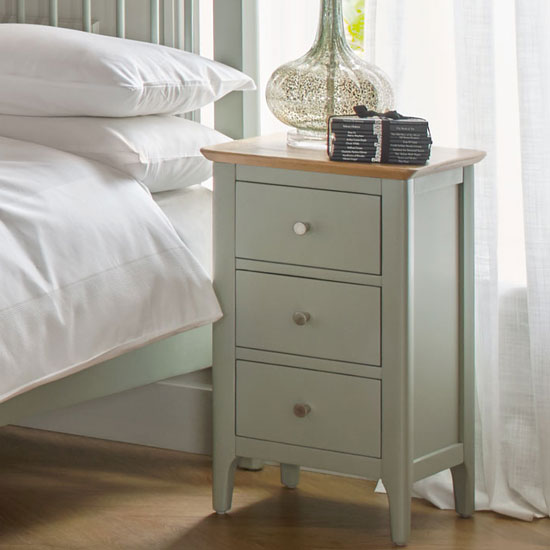Sedalia Bedside Cabinet In Sage Green And Oak With 3 Drawers