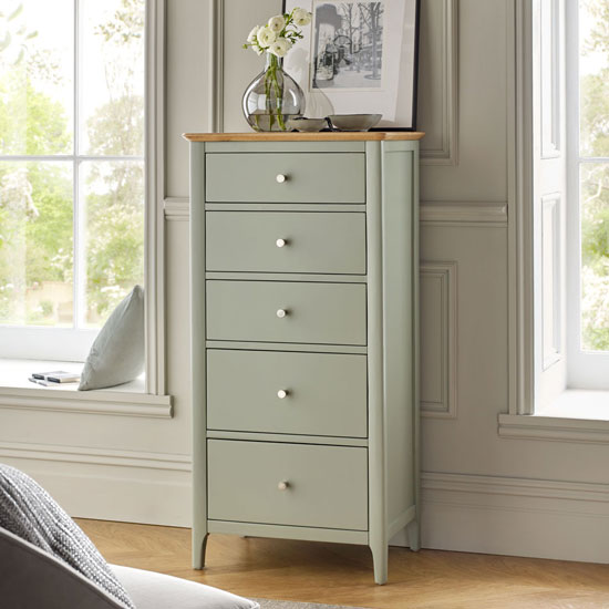 Sedalia Tall Chest Of Drawer In Sage Green And Oak With 5 Drawer