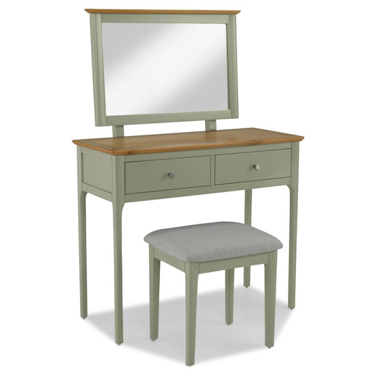 Sedalia Wooden 3Pc Dressing Table Set In Sage Green And Oak