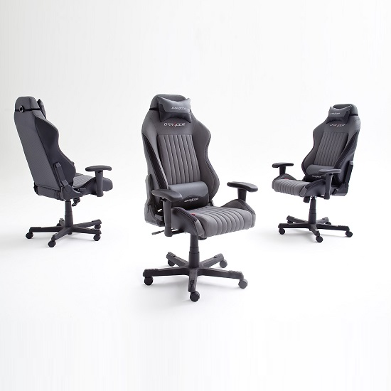 Sedan Home Office Chair In Black And Grey With Castors_3