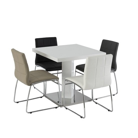 Sedia Dining Table Square In White High Gloss With 4 Java Chairs