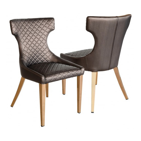 Segin Shiny Bronze Faux Leather Dining Chairs In Pair
