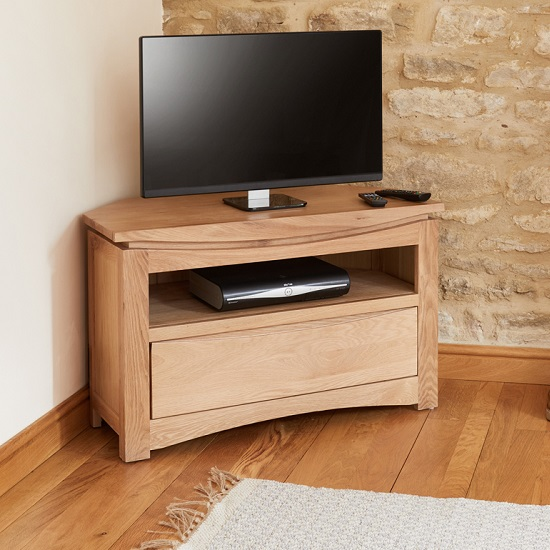 View Seldon wooden corner tv stand in oak with 1 drawer