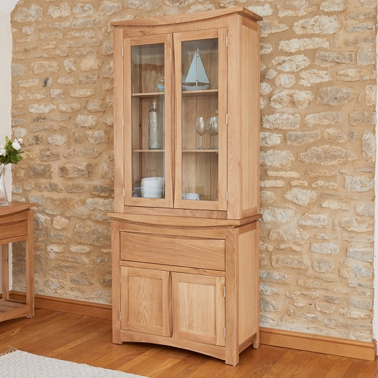 Seldon Display Cabinet In Oak With 4 Doors With Light_1