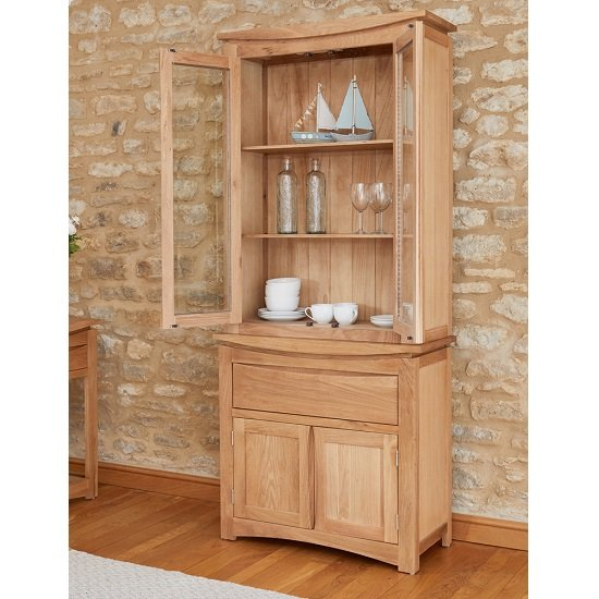 Seldon Display Cabinet In Oak With 4 Doors With Light_2