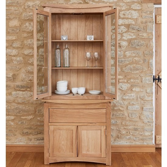 Seldon Display Cabinet In Oak With 4 Doors With Light_3