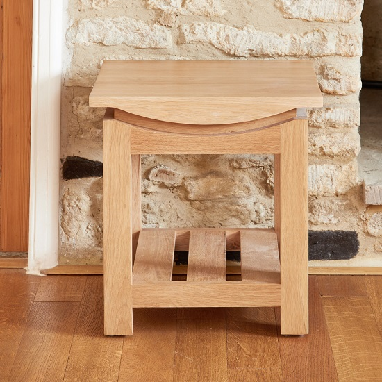 Seldon Wooden Lamp Table Square In Oak