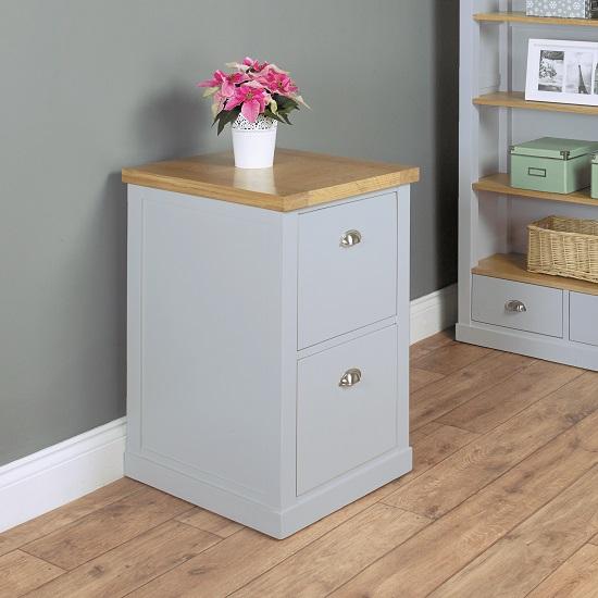 Seldon Home Office Cabinet In Grey And Oak Veneer Top