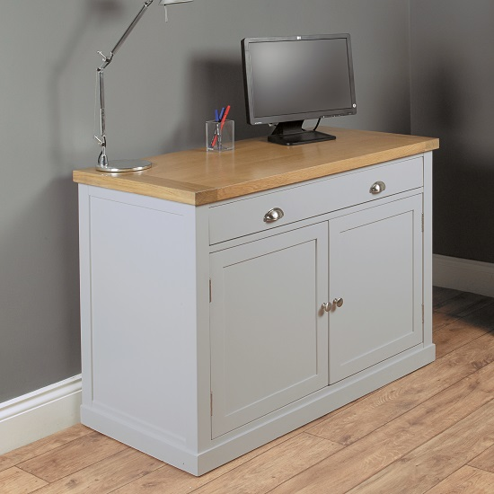Seldon Home Office Cabinet Cum Computer Desk In Grey