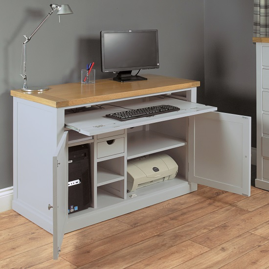 Seldon Home Office Cabinet Cum Computer Desk In Grey 27658