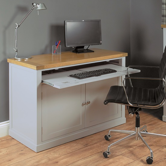 Seldon Home Office Cabinet Cum Computer Desk In Grey 27658