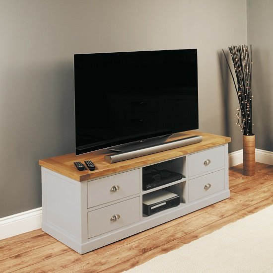 Seldon TV Stand In Grey With Oak Veneer Top And 4 Drawers