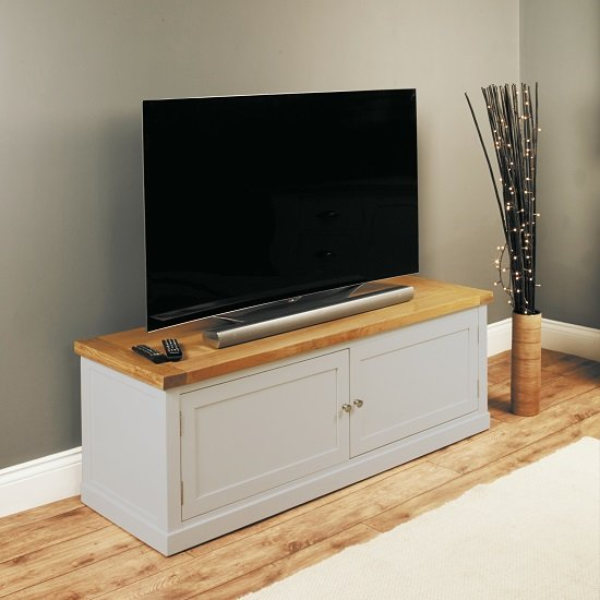 Seldon TV Stand In Grey And Oak Veneer Top With 2 Doors
