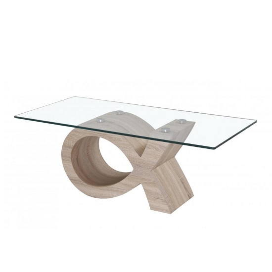Selena Glass Coffee Table Rectangular In Clear With Wooden Base