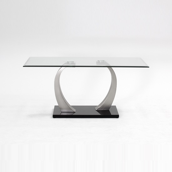 Selena Glass Coffee Table In Clear With Brushed Steel Base