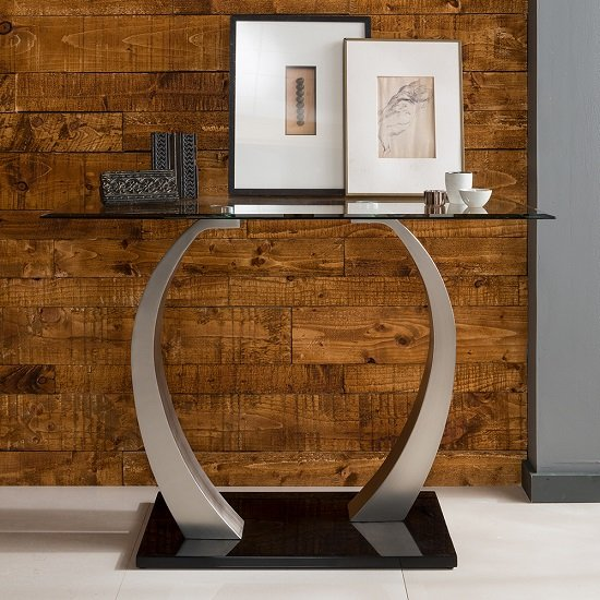 Selena Glass Console Table In Clear With Brushed Steel Base