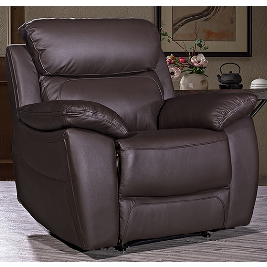Selene Contemporary Armchair In Brown Faux Leather