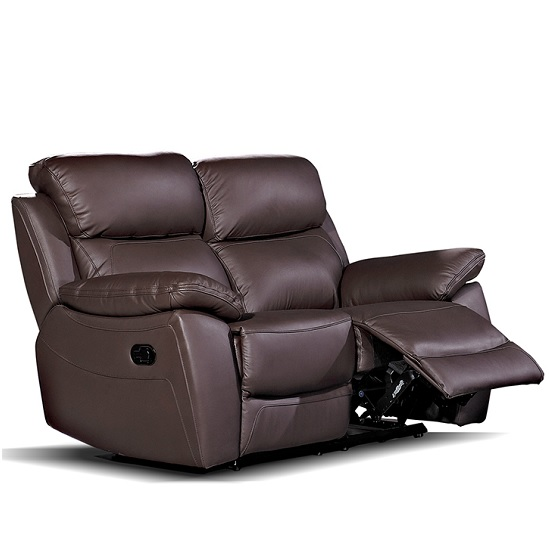 Selene Recliner 2 Seater Sofa In Brown Faux Leather
