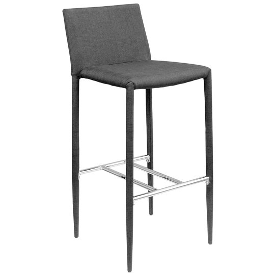 Selina Black Fabric Bar Stool With Chrome Footrest