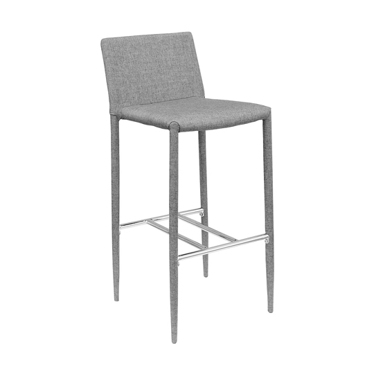 Selina Grey Fabric Bar Stool With Chrome Footrest