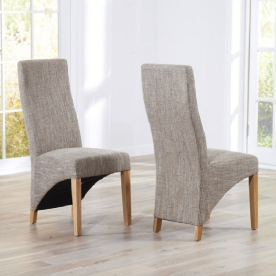 Seline Dining Chair In Tweed Fabric With Wooden Legs In A Pair