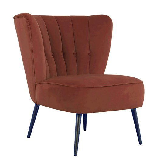 Selma Velvet Fabric Accent Chair In Copper