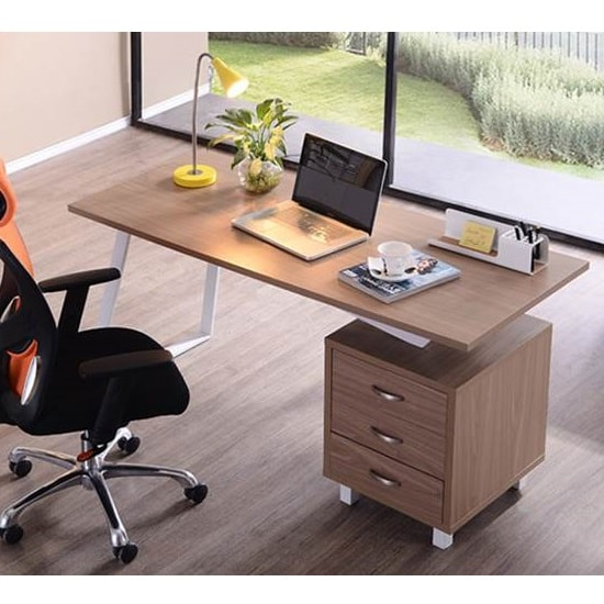 Selvino Wooden Computer Desk In Oak With White Steel Frame