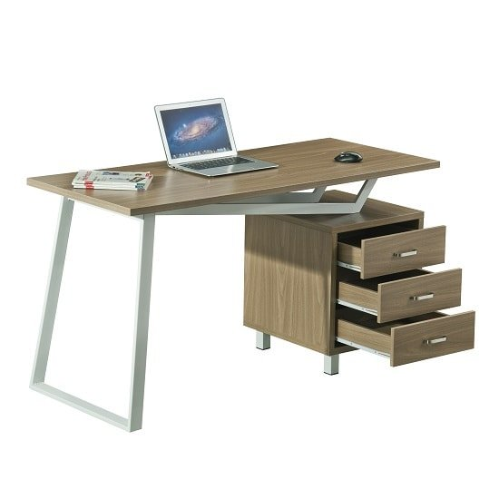 Selvino Wooden Computer Desk In Oak With White Steel Frame_3