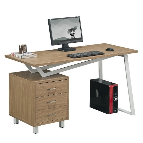Selvino Wooden Computer Desk In Oak With White Steel Frame_2