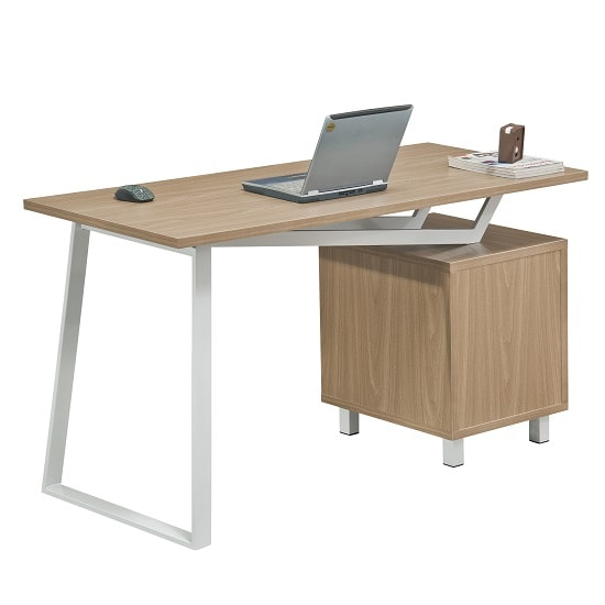 Selvino Wooden Computer Desk In Oak With White Steel Frame_5