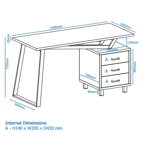 Selvino Wooden Computer Desk In Oak With White Steel Frame_4