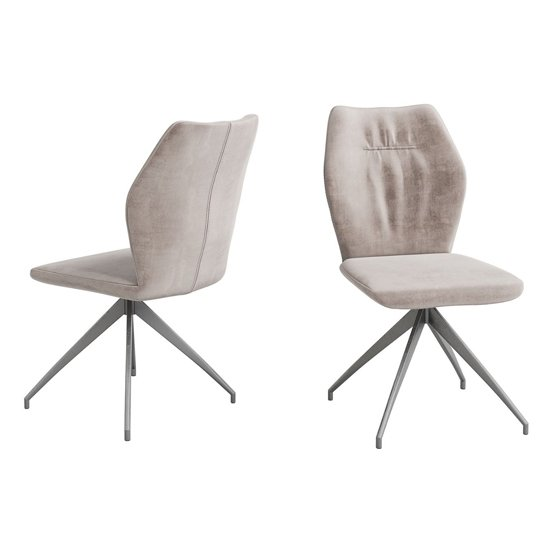 Sena Mink Velvet Fabric Dining Chairs In Pair