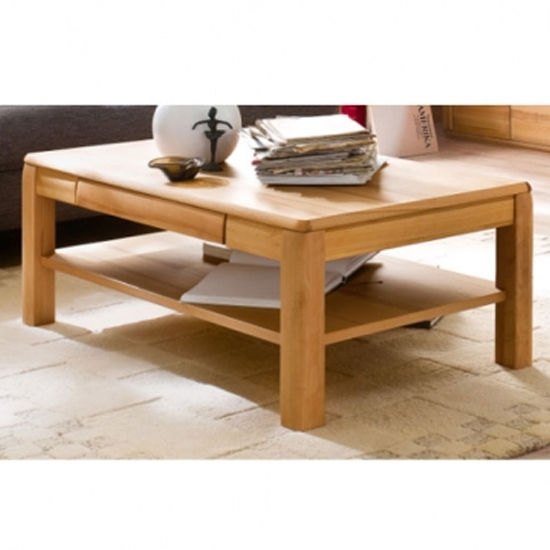 Sena Wooden Coffee Table In Oak With 1 Drawer